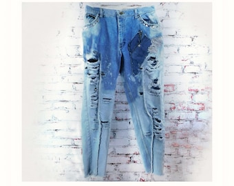 Destroyed jeans women - High waisted distressed jean, reworked blue jeans, vintage jeans, upcycled jeans,  size 14,  # 13