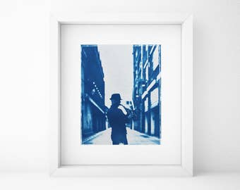 Cyanotype, Saxophone Player, Musician, Portrait, Original, Blue, Cyan, Home, Gift for Musician, Shabby Chic, Polaroid, Photography