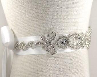 Bridal Sash - Wedding Dresses, Sash Belt - White Satin Wedding Dresses, Rhinestone Sash - White Bridal Sash - Wedding Dress Sash, Prom dress