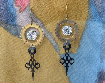 Crystal Clockwork Earrings