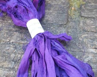 5 yards sari silk ribbon yarn