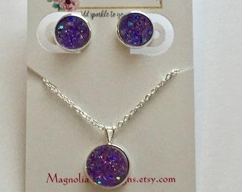 Light Purple Druzy Earrings and Necklace Set