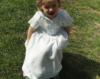 Vintage inspired Sailor linen dress for girl