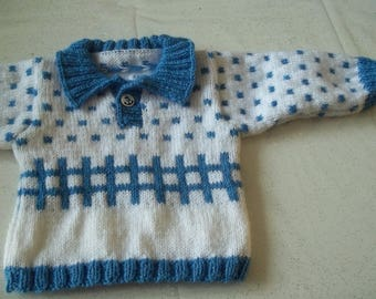 baby 0/3 months - handmade sweater knit polo collar