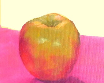 Apple on Pink, 6x8 Oil Painting on Canvas Panel, Still Life Art