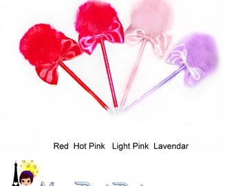 12 Different Colors Fuzzy Pom Pom Decorated pens with a Bow - 3.49ea or 2 for 5.00