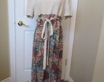 Vtg Womens dress size 14 Coco Bianco linen & rayon dress