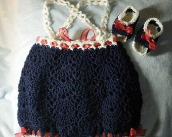 Crocheted Infant Romper Sunsuit Crocheted Sandals Infant 3-6 mo Navy Blue White Trim