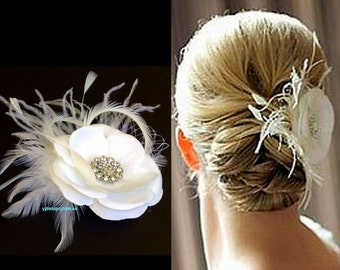 Ivory Bridal Fascinator, Rustic Wedding Headpiece, Feather Fascinator, White Flower Hair Clip, Bridal Headpiece, Wedding Hair Clip, RACHEL