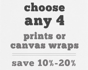 Any 4 Fine Art Prints or Gallery Wrap Canvases. Save 10-20%. Discounted Print Sets, Canvas Collection, Large Wall Art, Wall Gallery.