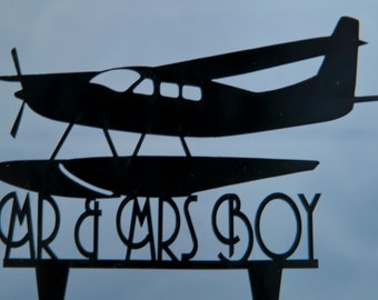 Seaplane wedding cake topper -  Mr. and Mrs. Wedding Cake Topper with your last name - airplane cake topper - your name topper