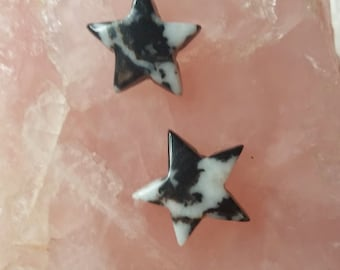 Black and White Zebra Marble Star Cabochons/ backed