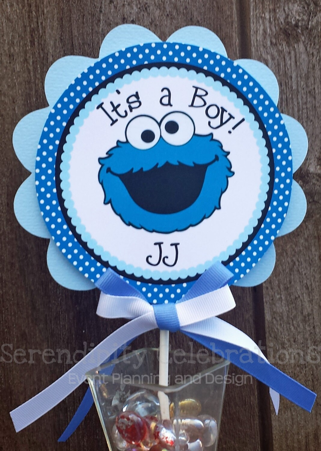 Personalized Cake Topper Blue Monster-small centerpiece