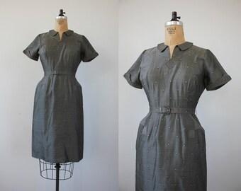 vintage 1950s dress / 50s grey dress / 50s silk dress / 50s shirt dress / 50s wiggle dress / 50s gray dress / 50s cocktail dress / medium