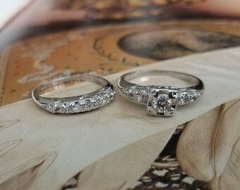Diamond Engagement Bridal Stackable 14K White Gold Ring Set