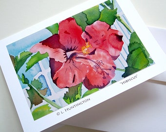 "Art Card ""Hibiscus"", Blank Note Cards, Lisa Huntington Artist, Fine Art Cards, Greeting Cards, Notecards, Floral Art, Flowers, Original Art"