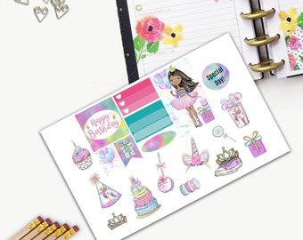 Birthday Princess Theme One Day Small Planner Sticker Set, All Happy Planner Stickers, Stickers, Printed, Cut, Functional Sticker, Unicorn