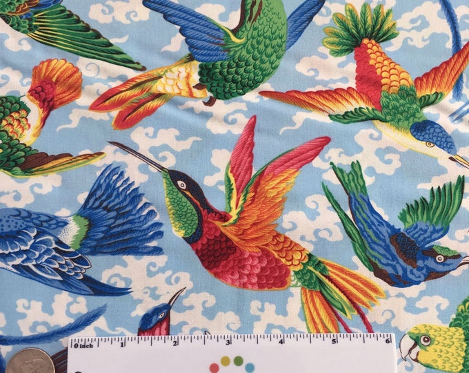 TROPICAL BIRDS Natural World Blue Multi Flying Colorful Quilt Fabric - by the Yard, Half Yard, or Fat Quarter Fq by Snow Leopard Designs
