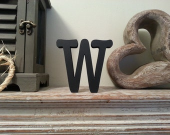 Freestanding Wooden Letter 'W' - Typewriter Style - 25cm - various colours & finishes
