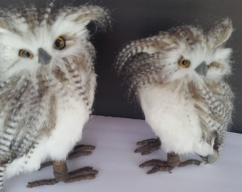 Hand crafted feathered OWLS set of two