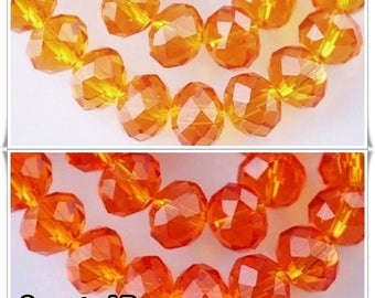 CHOOSE size: 8mm x 6mm / 4mm x 3mm swarovski Pearl AB rondelle faceted orange 8mm x 6 mm - 4 mm x 3 mm faceted rondelle beads