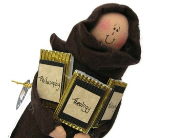 Monk doll, brother doll, Catholic gift, The Deep Friar, philosophical, thinker