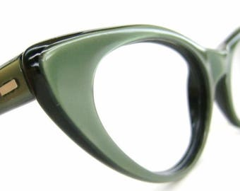 Vintage Satiny Green 50s Cat Eye Eyeglasses or Sunglasses Frame Safilo