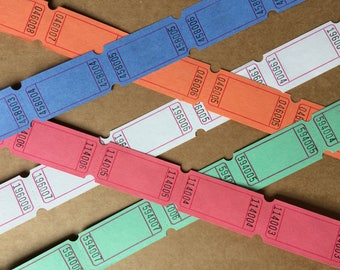 Blank Tickets ~ Carnival Party Fair Wedding Circus Raffle ~ Scrapbooking ~ Vintage Style ~ Pink Green Blue Orange White