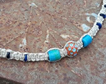 Hippie Macrame Hemp Necklace with Glass-Blown Center Bead