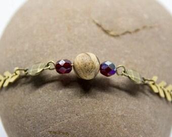 Landscape Jasper and gold spike bracelet