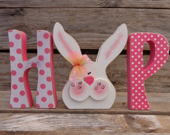 Easter Decor, Spring Decor, Wood Letters, Hop with Bunny (Large)