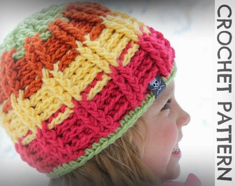 CROCHET PATTERN - Avalanche Beanie - Child