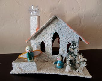 small vintage 50s 60s Christmas Putz House - angels, cardboard, decoration, made in Japan