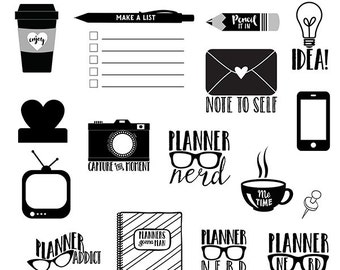 Planner Nerd digital brushes + PNG, .abr, digital stamps, graphics, clip art, INSTANT DOWNLOAD, photoshop brushes, lmtd cu, s4h, tv, phone