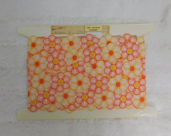 """Vintage Flower Trim or Lace from Switzerland - 3 yards - 1"""" Wide Orange Yellow     a100"""