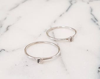 Silver Initial Ring, Personalised Silver Ring, Silver Letter Ring, Dainty Stacking Ring, Stacking Initial Ring, Hand Stamped Letter Ring,