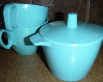 vintage kitsch ... MELMAC group SUGAR Bowl and 2 TEACUPS sq handles ...