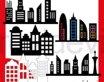 Superhero Skyline buildings clipart sale - skyscraper city building silhouette clip art - instant download, commercial use