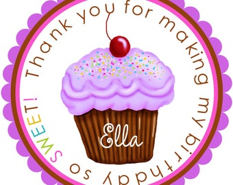 Purple Cupcake birthday stickers, Cupcake Stickers, Cupcake party, Cupcake, Personalized stickers, favor,labels, Children, Kids, set of 12