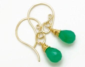 14k goldfill earrings with green onyx