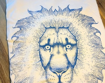 Lion cotton t-shirt handmade screenprint