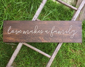 MADE TO ORDER String Art Love Makes a Family Handwritten Script Single Line Strung Sign