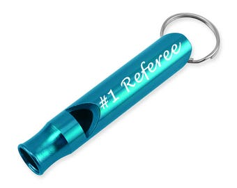 Laser Engraved #1 Referee Whistle Key Chain Gift