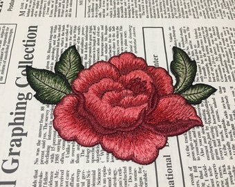 Red Flower Embroidered Applique