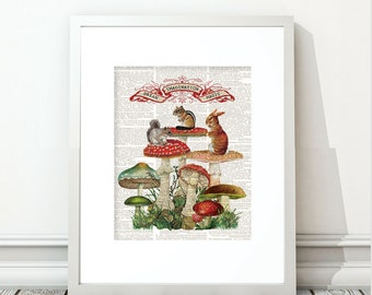 bunnies, red mushrooms, mushrooms red, children's room art, squirrel, chipmunk, fantasy print, woodland, woodland prints, vintage woodland