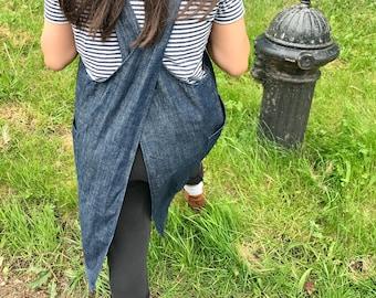 Denim Japanese apron hard wearing smock dress - for hardcore crafting in blue or black