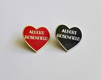 "Albert Rosenfield Red Gold or Black Silver Heart Pin // Twin Peaks inspired // 1.25"" hard enamel lapel pin"