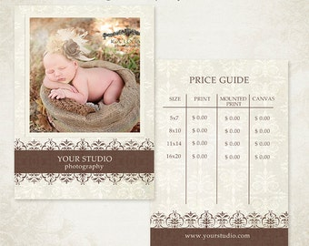 Photographer Price List - Print Package Pricing - Price Guide Photography Marketing Template 002 - ID127, Instant Download