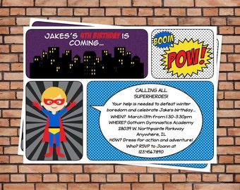 Superhero birthday party, superhero party invitation, printable superhero invitation, super hero invitation printable, custom invitation