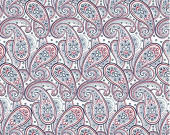 Quilting Treasures - Monroe - Paisley - White - Fabric by the Yard 25862-Z